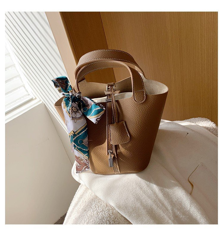 Flat Grain Synthetic Leather Bucket Bag with Twilly Scarf  for Chic Outfits