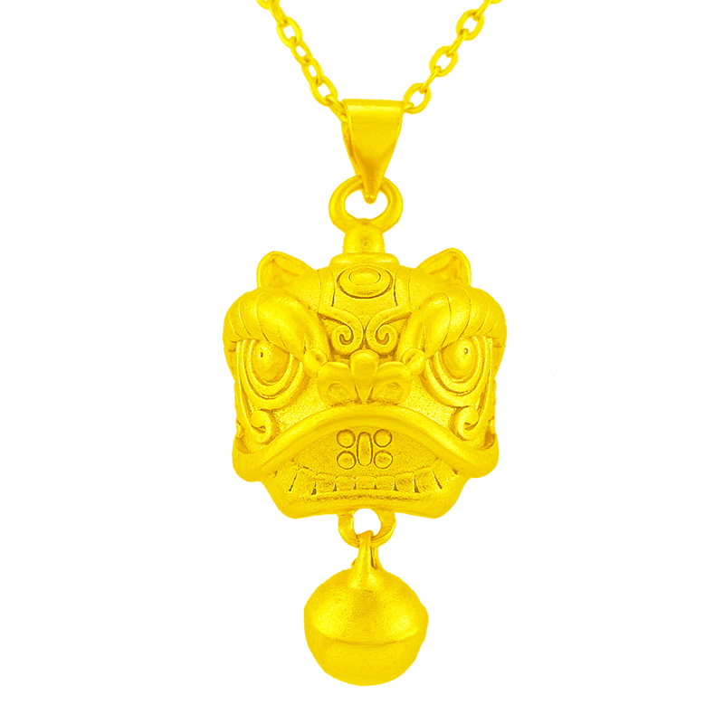 Fierce Gold-Plated Lion Pendant for Attracting Luck