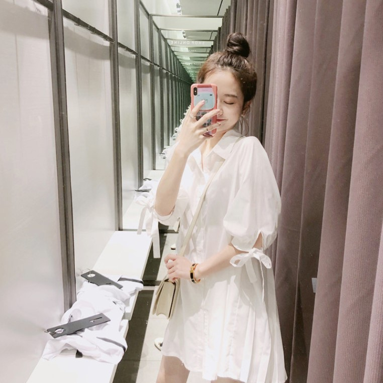 Pleated Back Lantern Sleeve Tied Cuff Dress for Fresh and Sweet Look