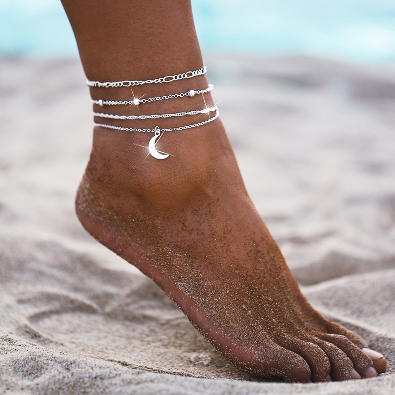 Simple Multi-Chain Crescent Moon Anklet for Barefooted Beach Walks