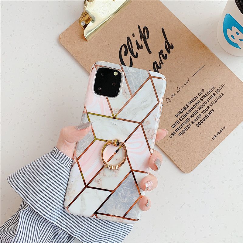 Color Marbling with Golden Ring Stand Phone Case