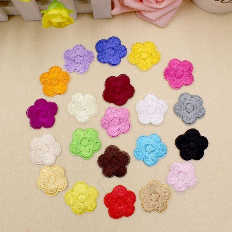 Solid Color Five Petal Flower Patch for Stylish Accessories