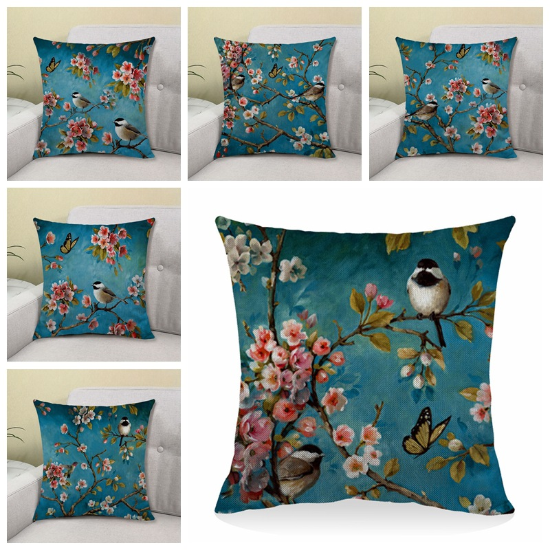 Oriental Birds and Flowers Print Pillowcase for Pillows