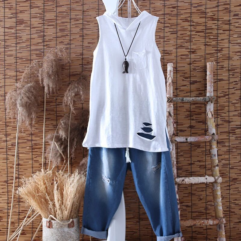 Distressed Sleeveless Top with Hood for Skater Outfits