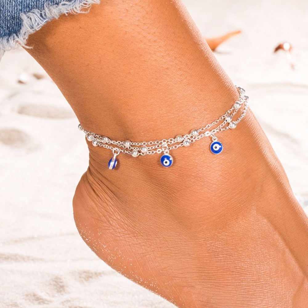 Modern Multilayer Anklet with Ball Bead for Quirky Look