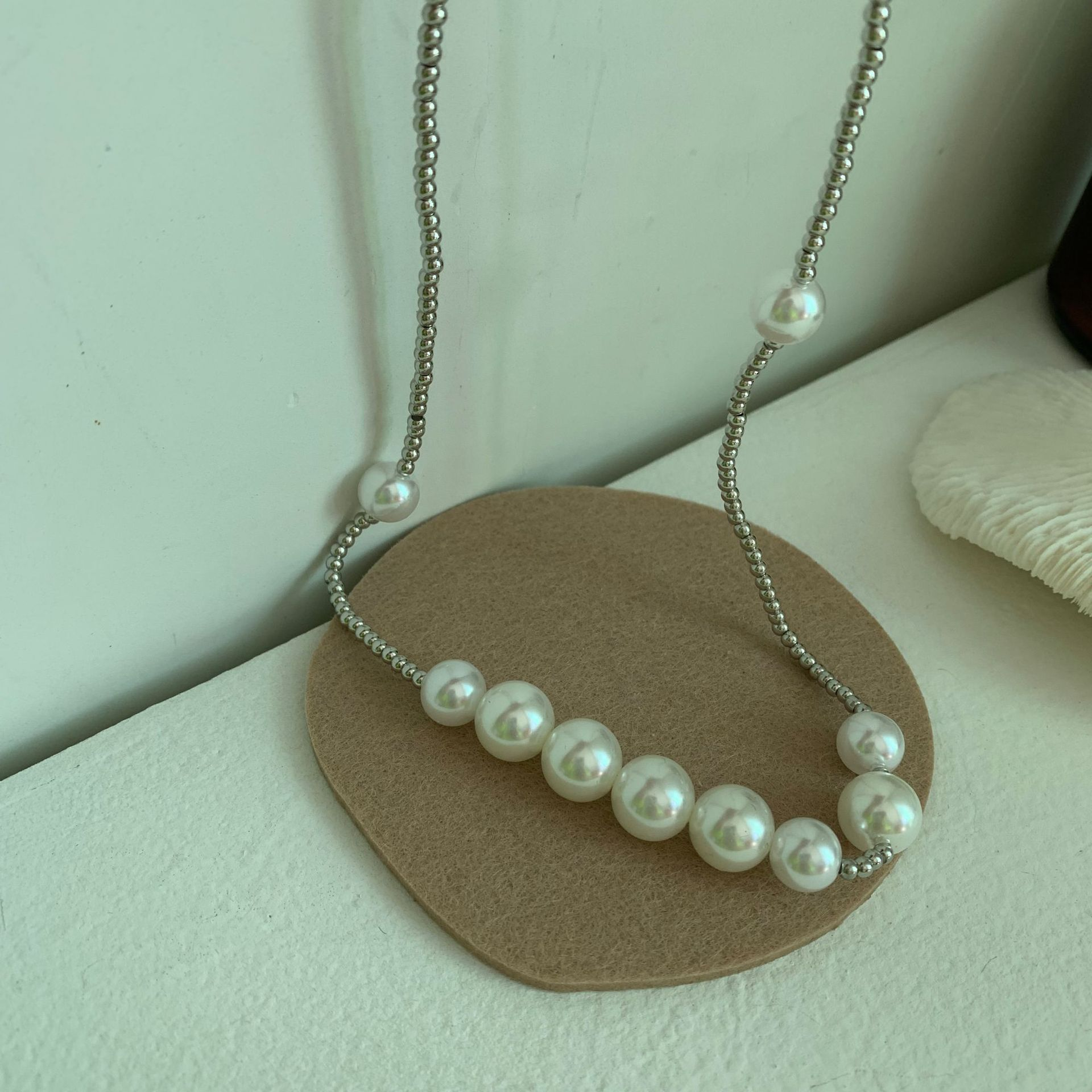 Trendy Pearl and Cube Necklace for Bad Boy Outfits