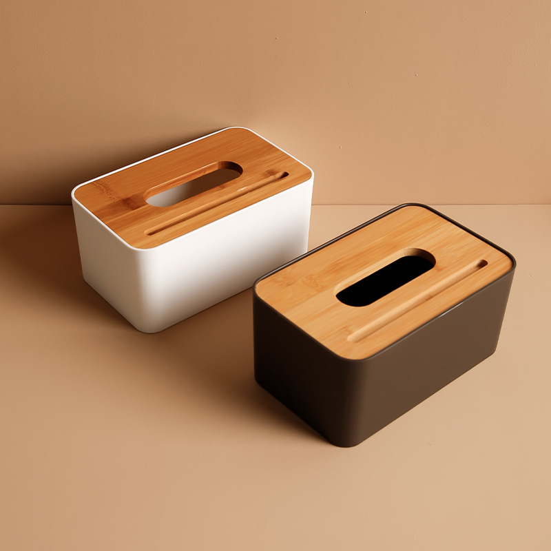 Simple Wooden Style Plastic Tissue Box with Phone Holder for Desks