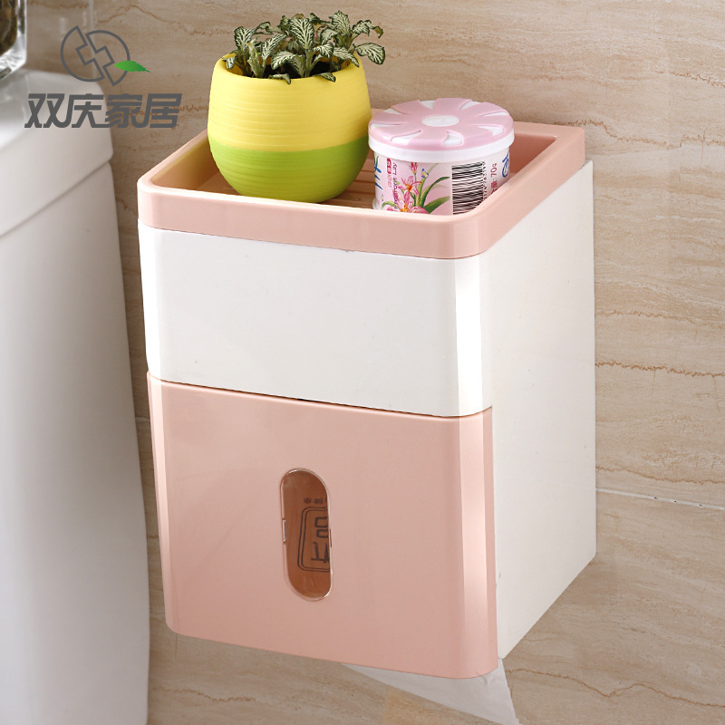 Simple Waterproof Wall-Mounted Tissue Box for Bathroom