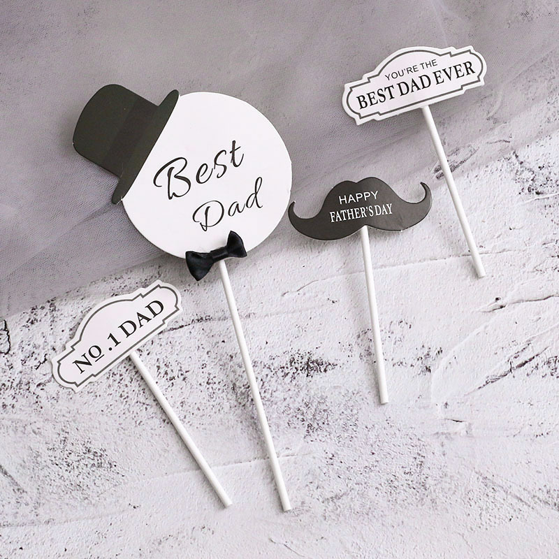 Minimalist Black and White Cake Topper for Fathers Day Celebration