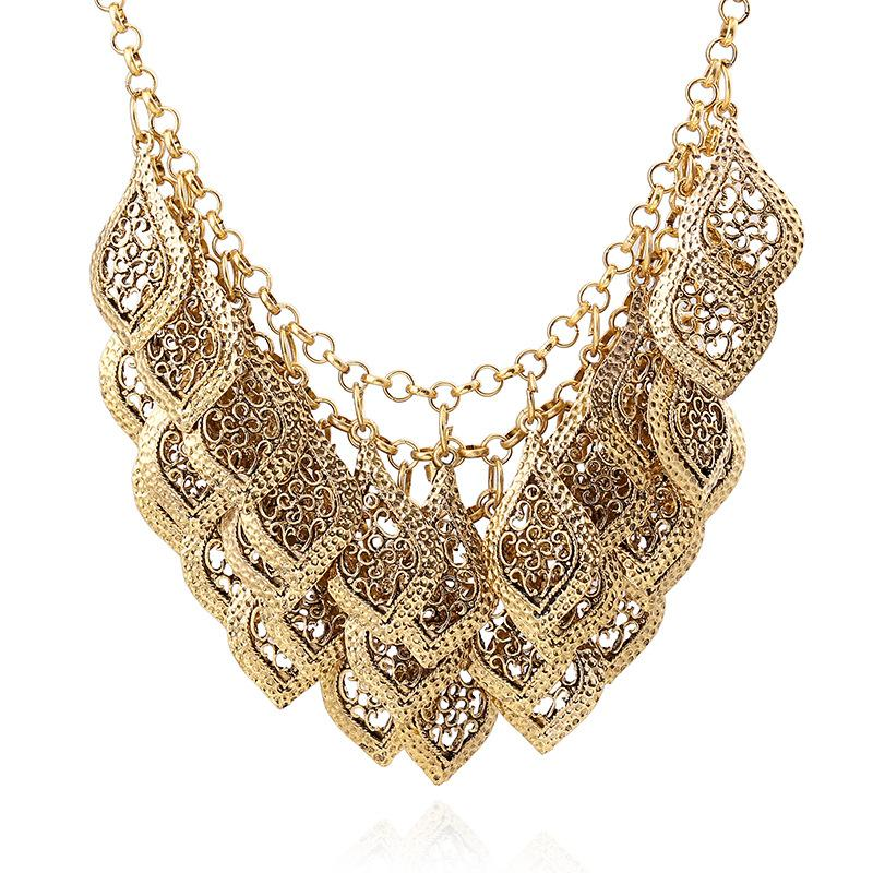 Multilayered Hollow Leaves Necklace