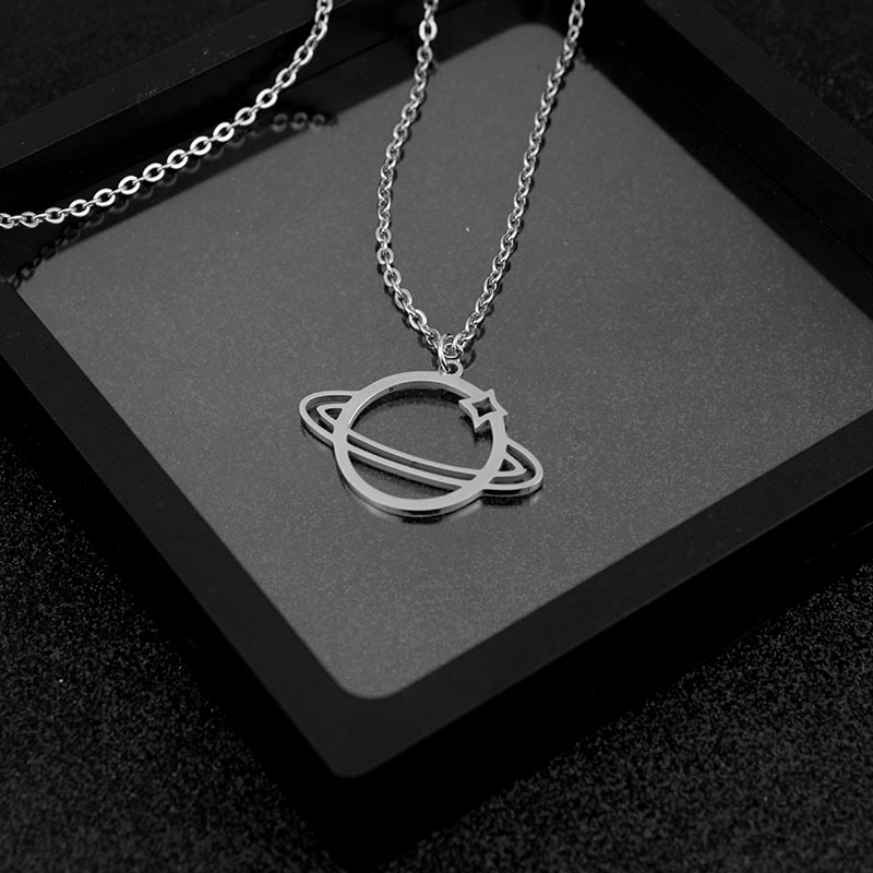 Stainless Steel Saturn with Star Necklace for Out of this World Looks