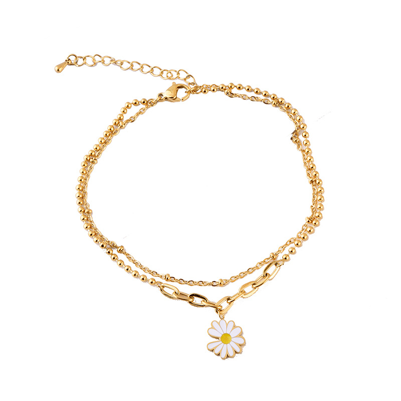 Golden Plucking Daisy Charm Two-Layer Anklet for Love Attraction
