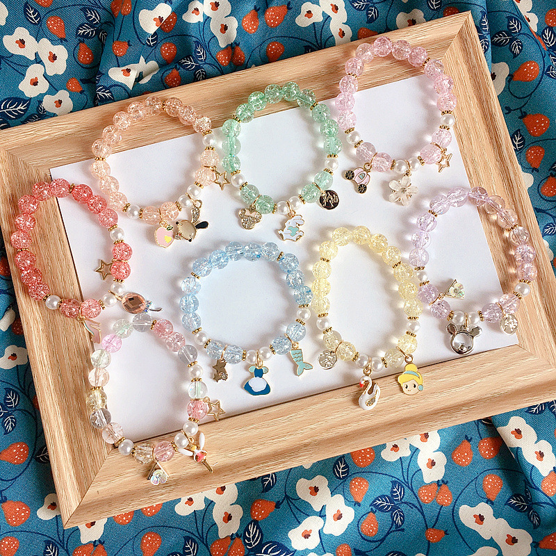 Translucent Beads Cartooned Charm Alloy Bracelets for Adorable Styles