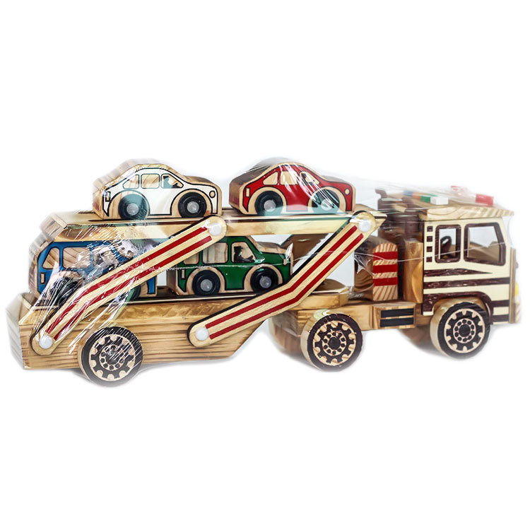 Artistic Wooden Flatbed Trailer and Automobiles Set for Gifting to Children