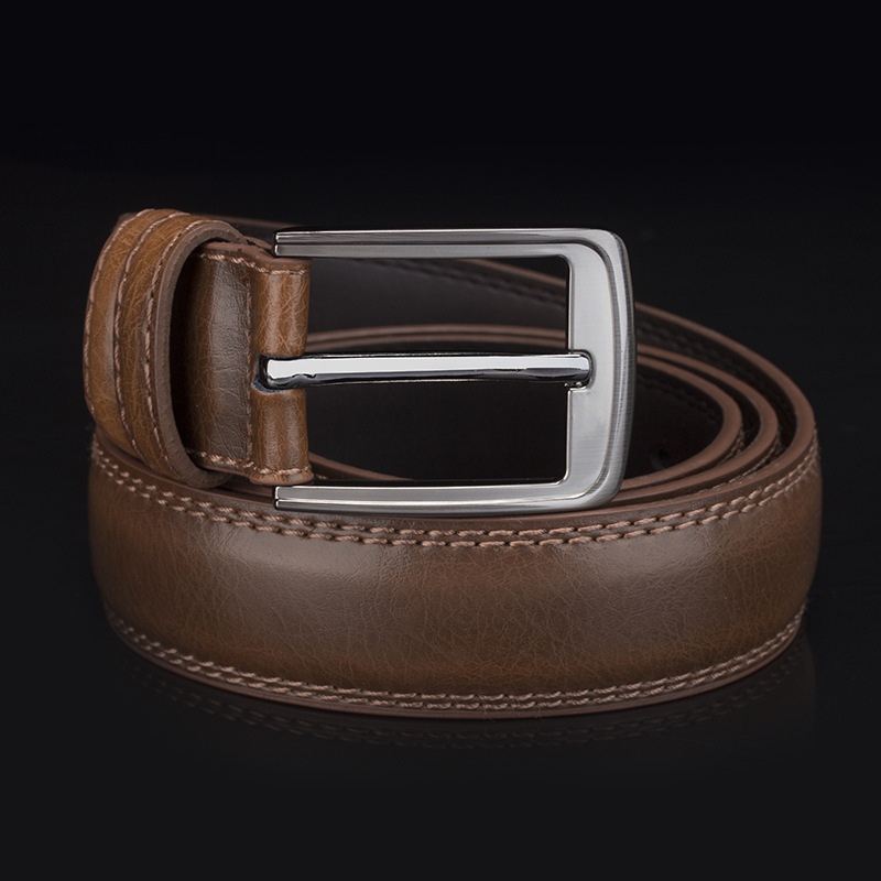 Square Buckle Textured Leather Belt