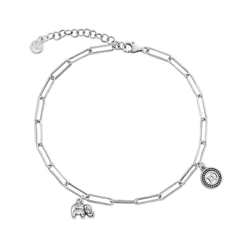 Elephant and Wheel Charm Anklet