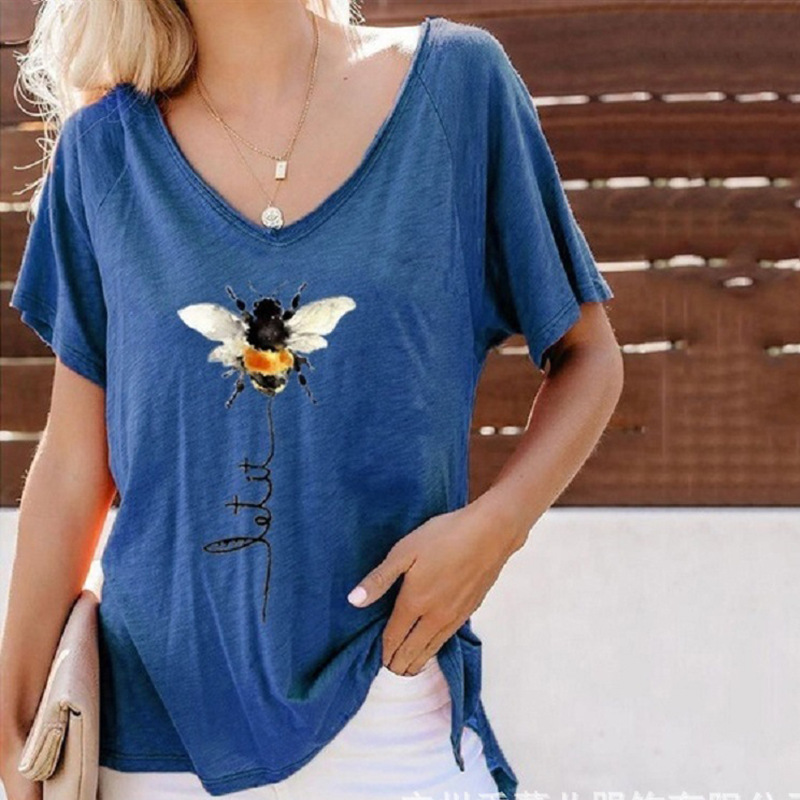 Carefree Bee-Printed Short-Sleeved V-Neck Polyester Tee for Everyday Use