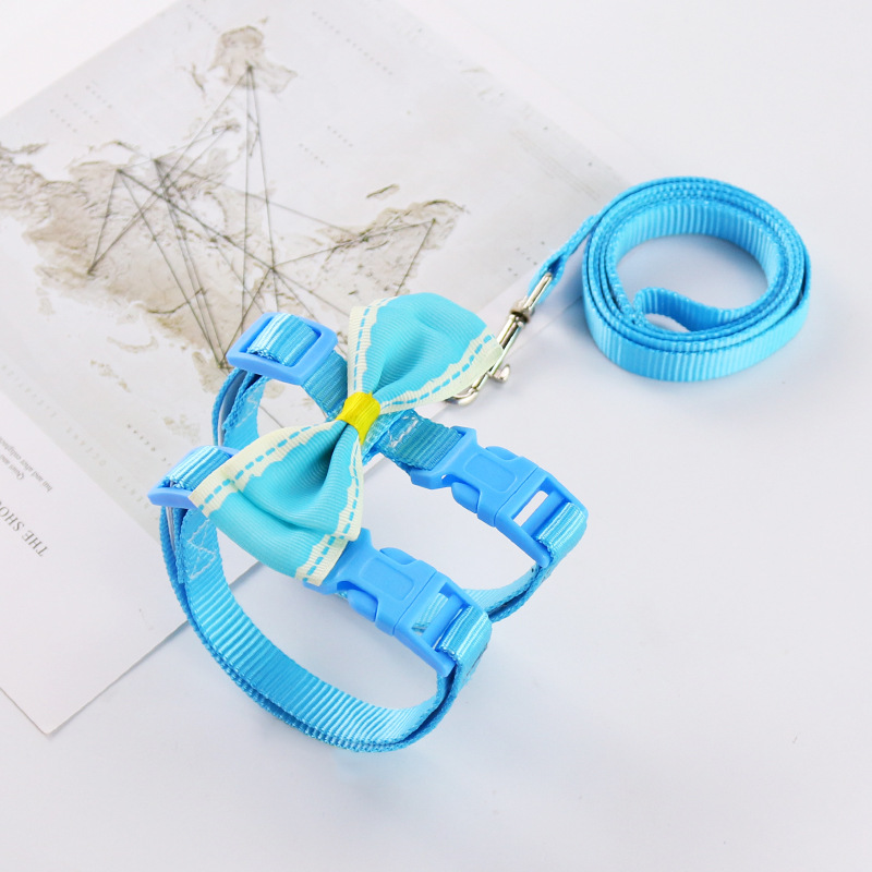 Cute Ribbon Adorned Pet Harness with Leash for Styling Pets