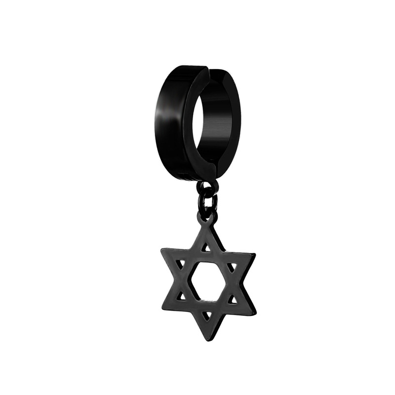 Star of David Clip Hoop Earrings for Hip Boys