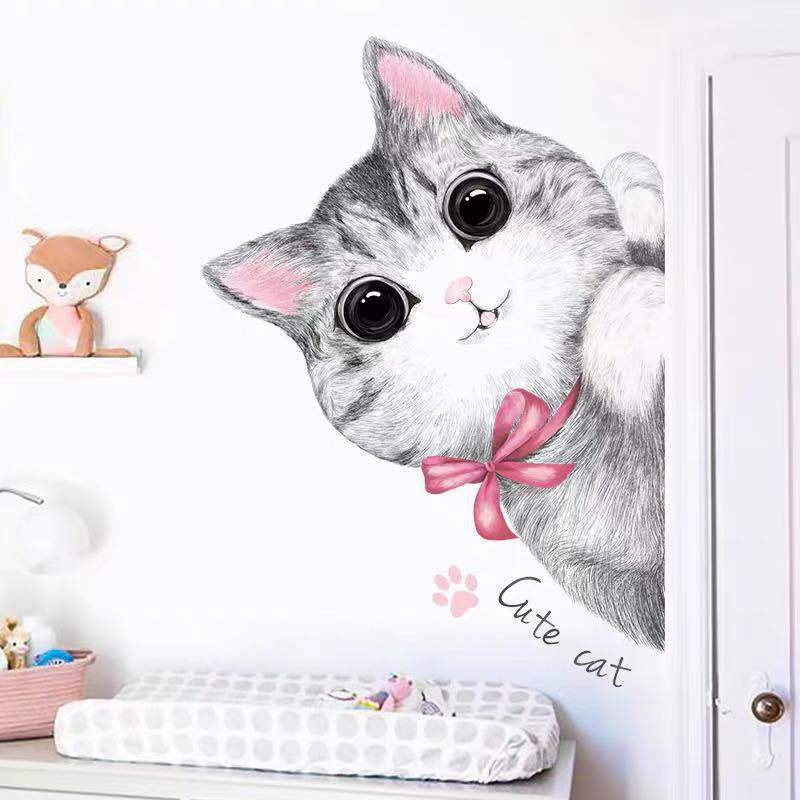 Cute Cat Wall Sticker for Decorating Children's Rooms