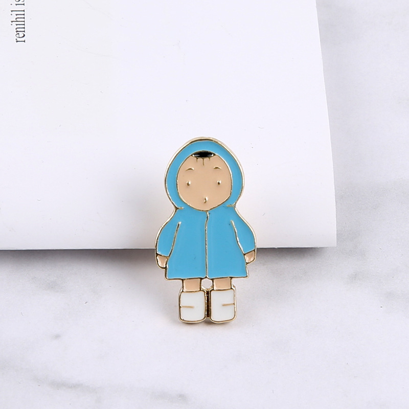 Hooded Baby Boy Pin for Baby Showers