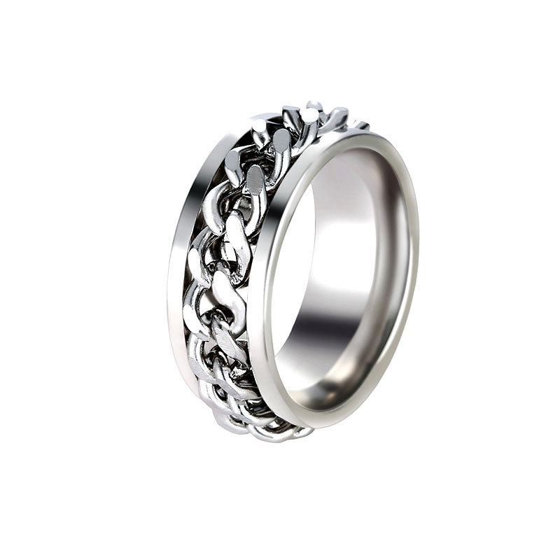 Rotating Chain Stainless Steel Ring