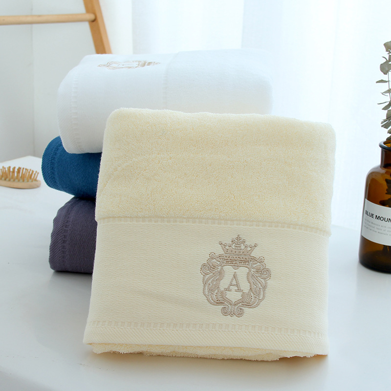 Thick Cotton Adult Bath Towel with Small Embroidered Mark