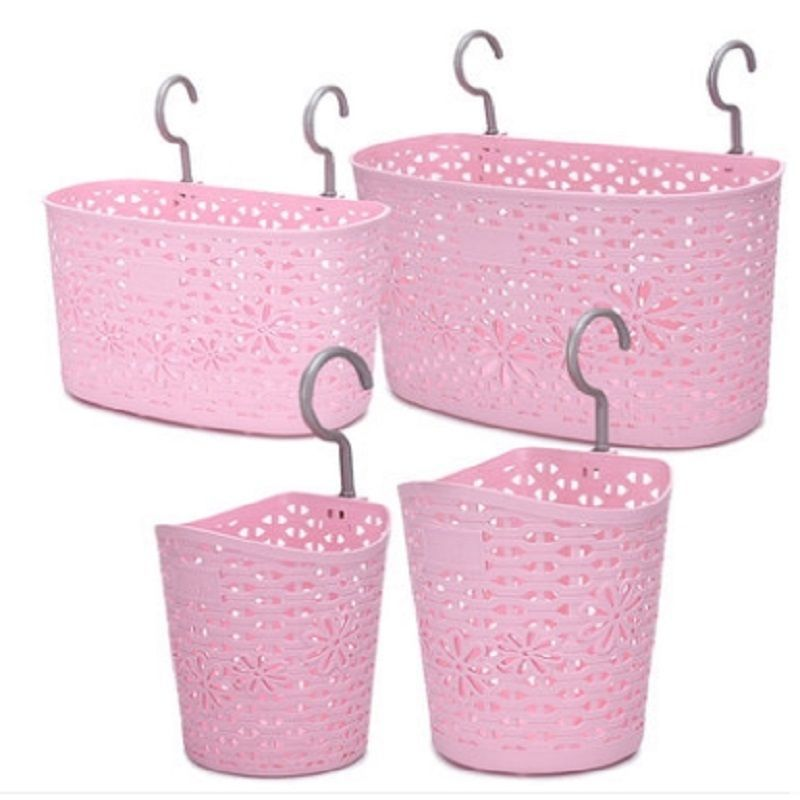 Floral Plastic Toiletries Basket with Hooks