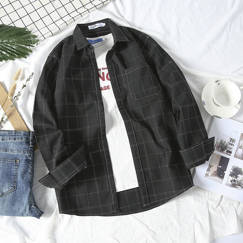 Simple Plaid Shirt Jacket for Autumn and Winter Wear