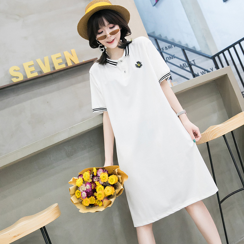 Plain And Simple Daisy Button Up Shirt Dress for Daily Work Wear