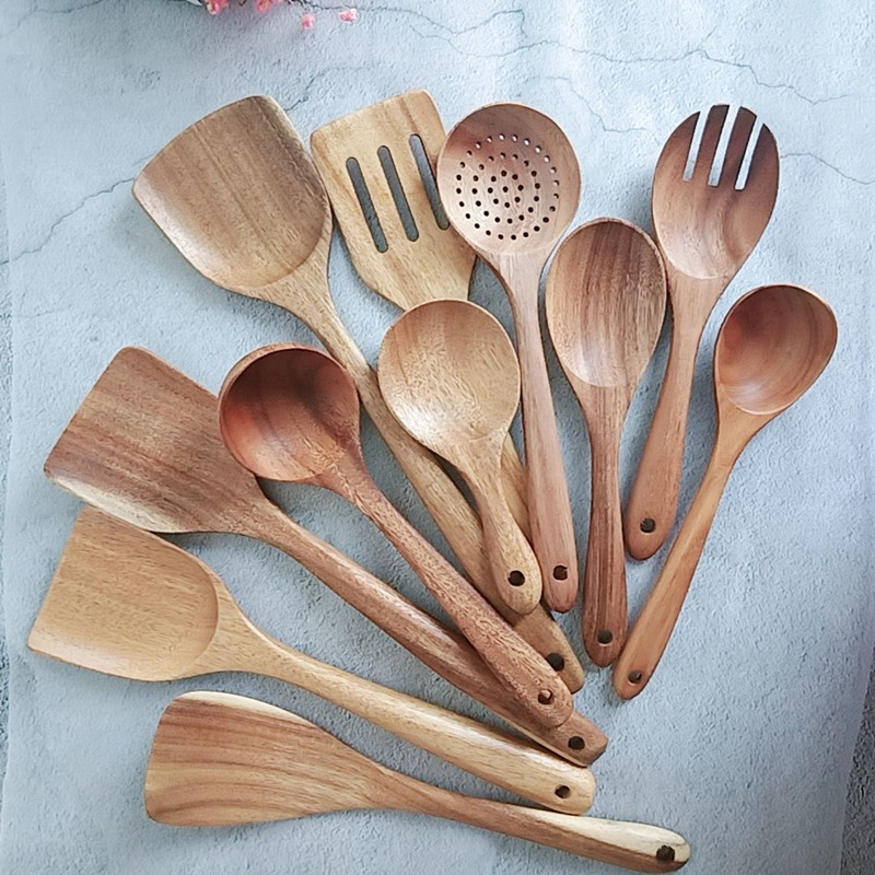 Durable Wooden Kitchen Spatula and Spoon for Cooking