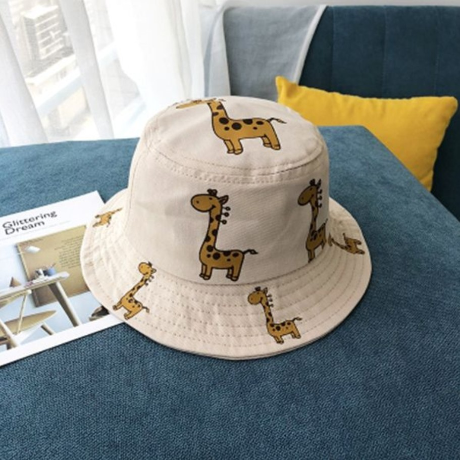Cute Cotton and Polyester Made Fisherman Hat with Giraffe Prints for Kids