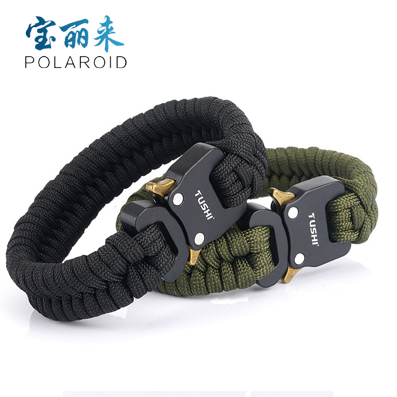 Useful Survival Buckle Braided Rope Bracelet for Camping and Hiking Use