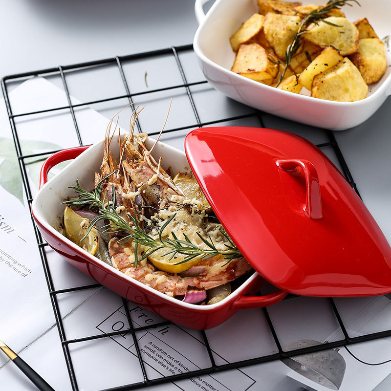 Classic Double Ear Ceramic Baking Dish for Baking