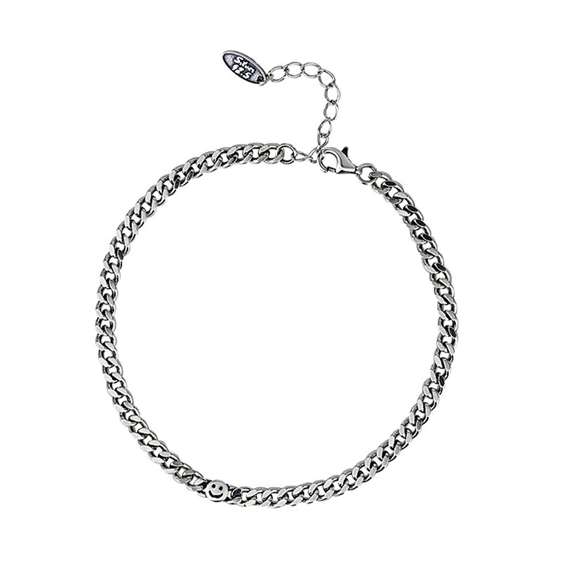 Smiley Curb Chain Bracelet for Casual Wear