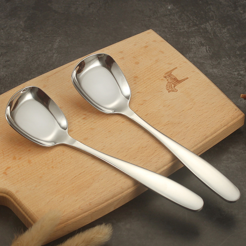 Thick Stainless Steel Flat-Bottomed Spoon for Kitchen
