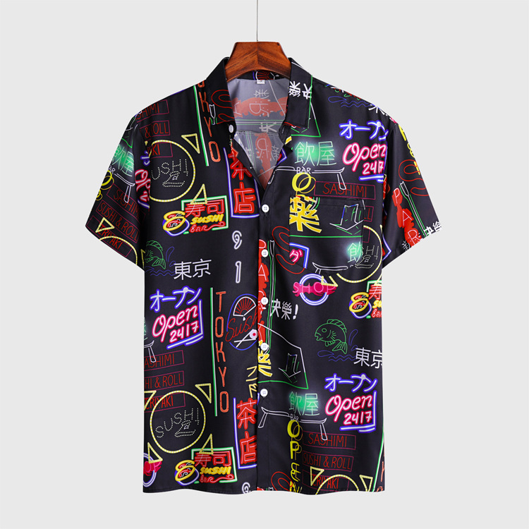 City Nightlife Neon Signs Graphic Button Up Shirt for Streetwear Looks