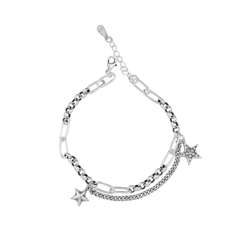 Vintage Double Star Chain Bracelet