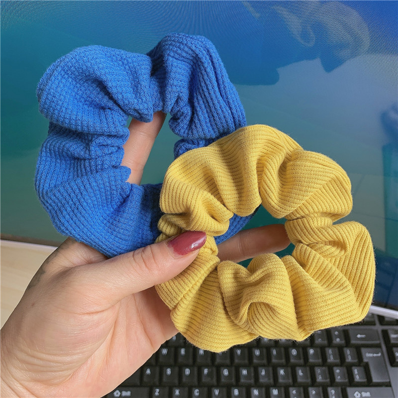 Ribbed Cloth Colored Scrunchie