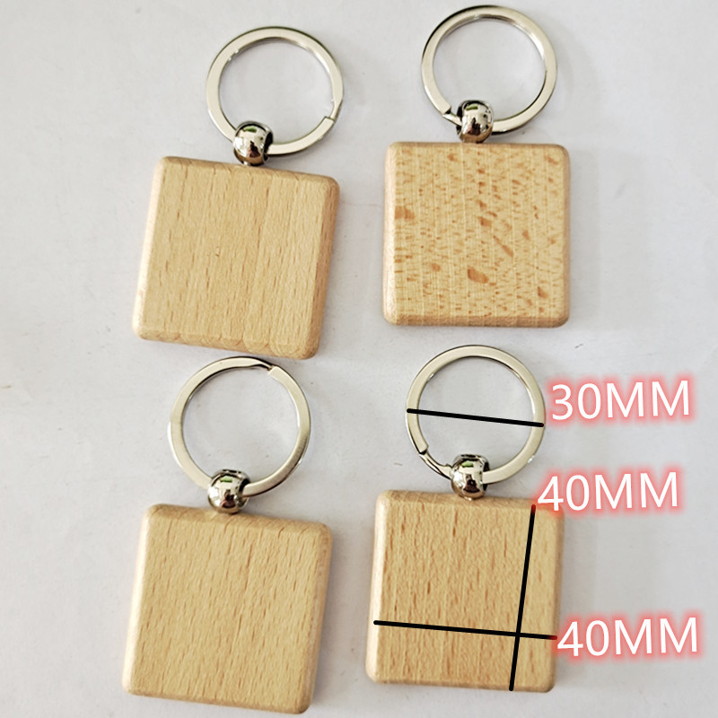 Simple Beech Wood Basic Shape Keychains for Personalized Giveaways