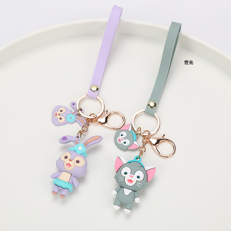 Cool-Toned Fox and Bunny Bag Charm with Keyring for Animal Lovers