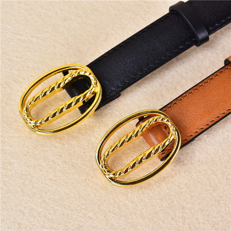 Gold Rope Oval Buckle Leather Belt
