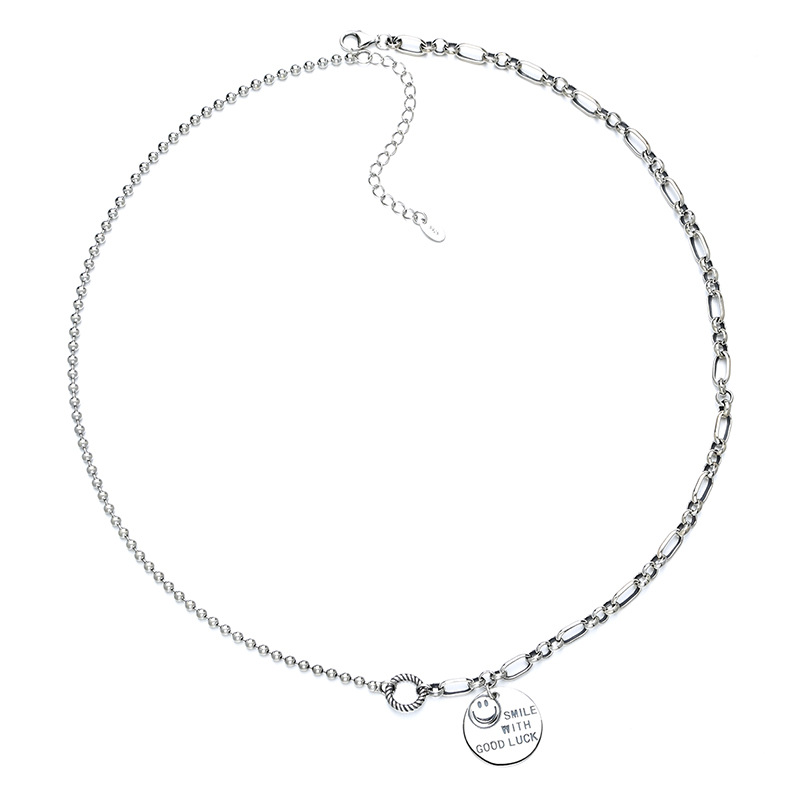 Good Luck Smile Silver Necklace for Trendy Officewear