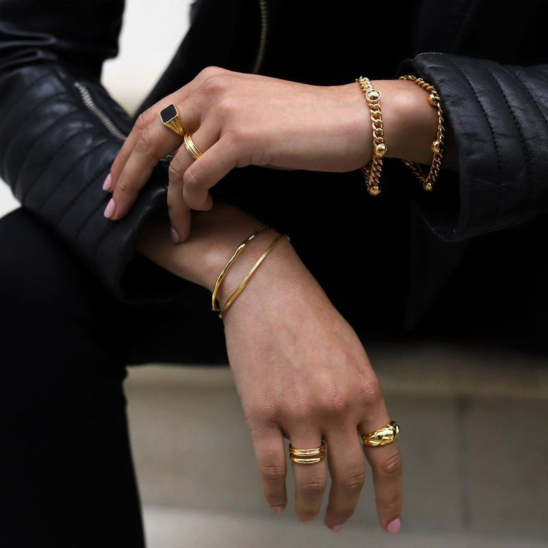 Izzie Indents Gold-Plated Copper Rings