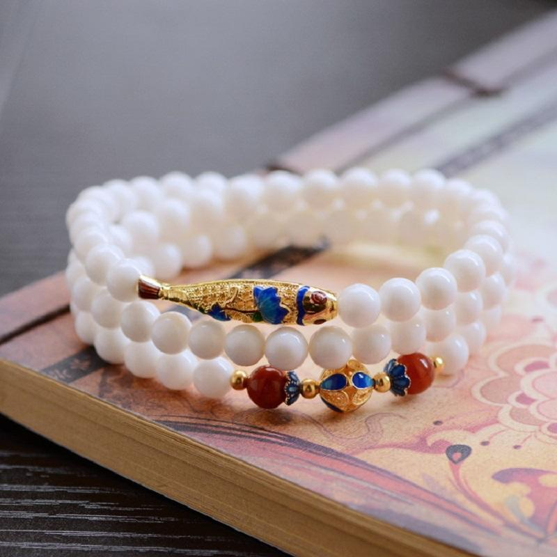Golden Koi Fish Wrap Bead  Bracelet