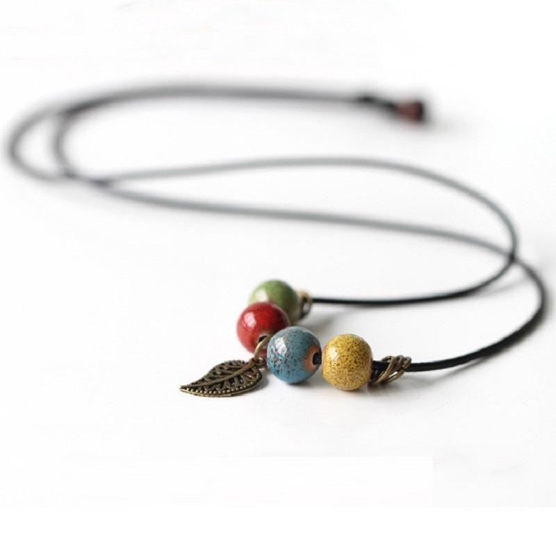 Colorful Beads Leaf Necklace