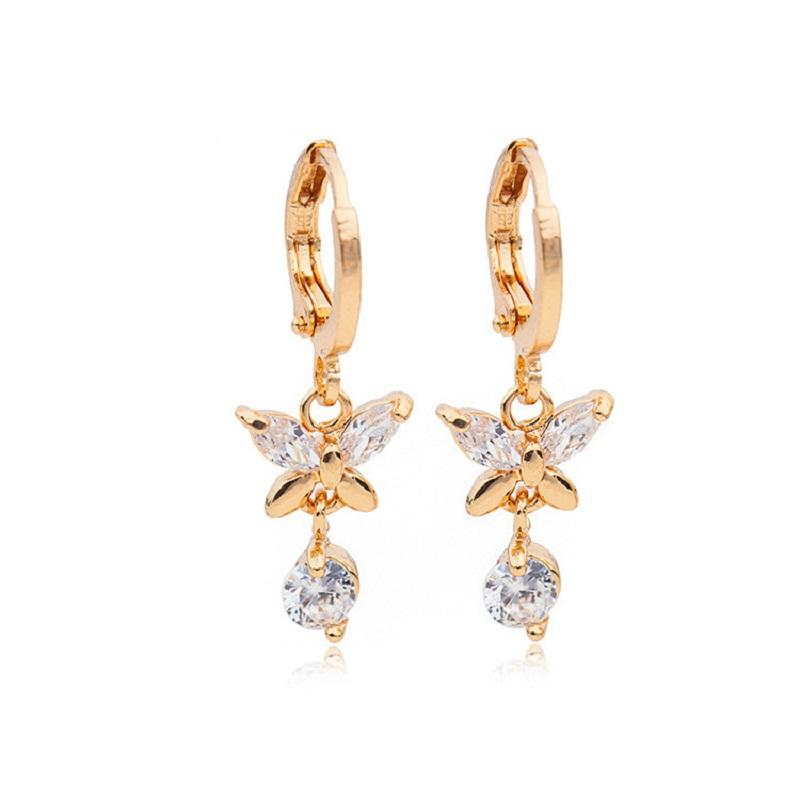 Sweet Butterfly Zircon Dangling Earrings