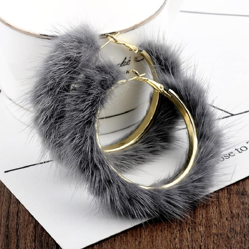 Mink Fur Hoops with Rose Earrings