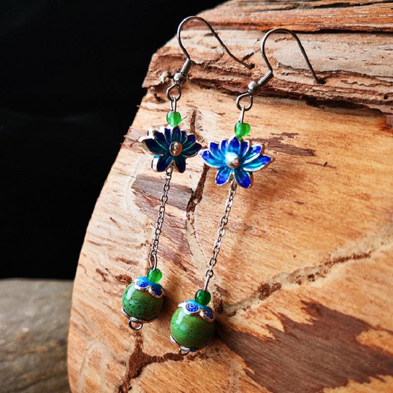 Colored Lotus and Bead Drop Earrings