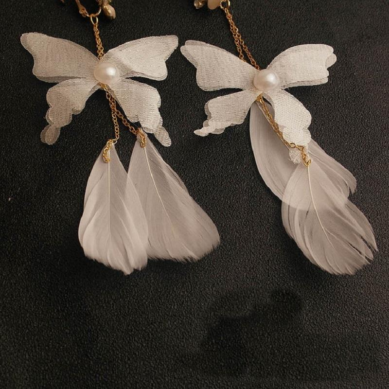White Butterfly and Feather Dangle Earrings